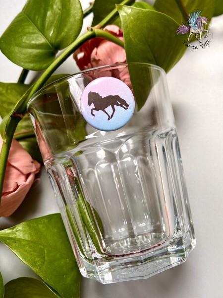 Button # Glasmarkierer # Tölter # rosa Farbverlauf # 25 mm