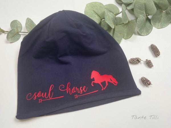 Leichte Mütze mit Rollrand dunkelblau - Einheitsgröße Soul Horse - rot