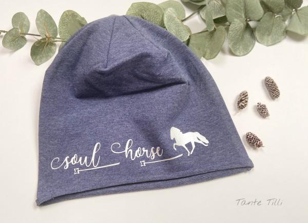 Leichte Mütze mit Rollrand denim blau - Einheitsgröße Soul Horse silber
