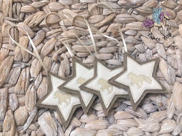 4 er Set # Sterne # Filz zum hängen # weiß Glitzer