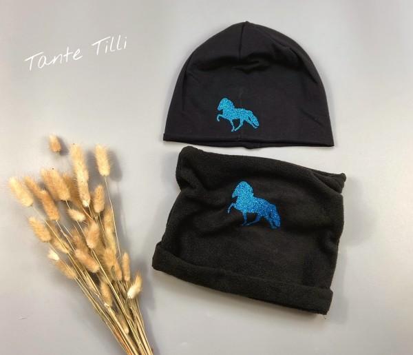 Set bestehend aus Mütze und Buff in schwarz mit Glitzer Tölter in blau