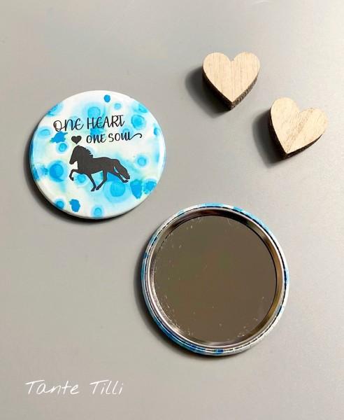 Button Handspiegel - One Heart one Soul 59 mm mit Farbverlauf türkis