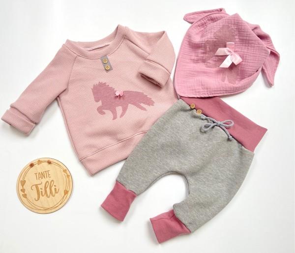 Set Gr. 68/74 grau- rosa bestehend aus Pulli, Hose und Tuch