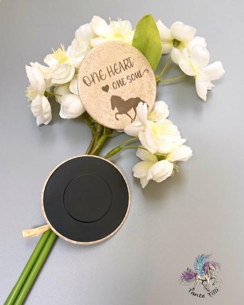 Button # Kühlschrank # Magnet # One heart one Soul # beige