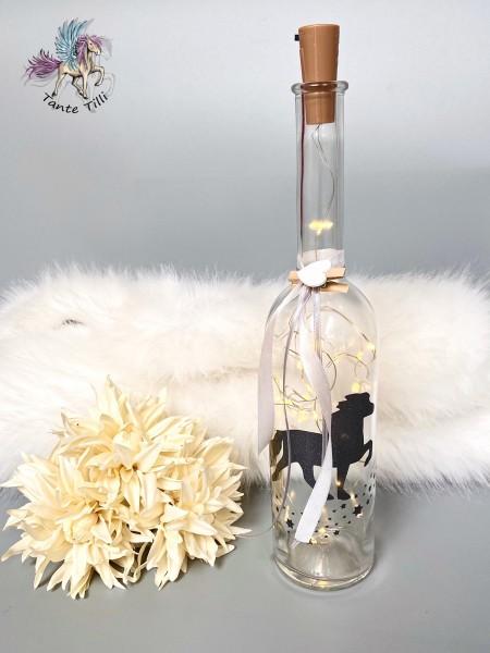 Flaschenlicht # groß 1000 ml # Sternentölter # anthrazit Glitzer # grau