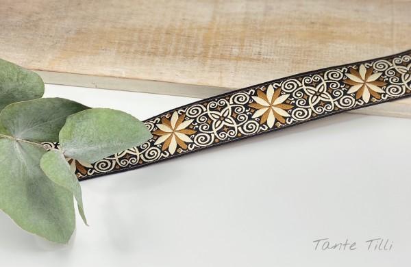 Webband Ornamente beige-braun-schwarz 24 mm