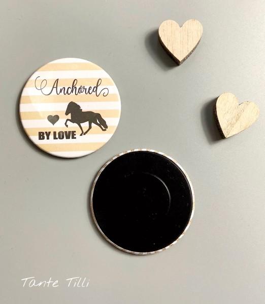 Button # Kühlschrank # Magnet # Anchored by Love beige gestreift