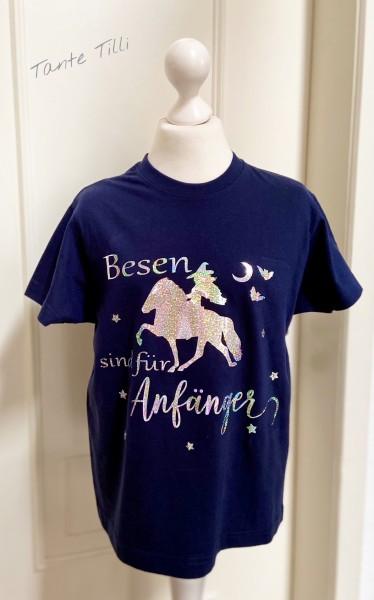 T Shirt # Gr. 140 # blau # Besen sind für Anfänger