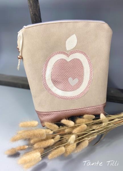 Kosmetiktasche in rosé beige mit Apfel